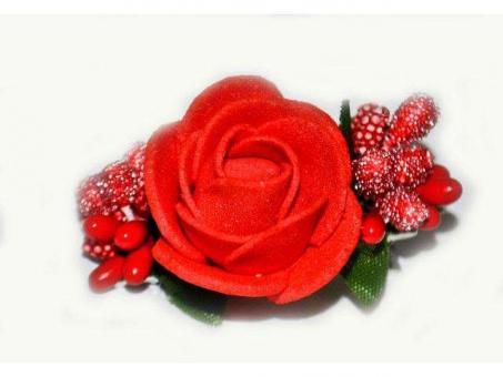 №1031 Заколка Цветок красная