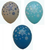 "Шарик снежинки (голубой, белый, синий, прозрачный) 12""(30см)"