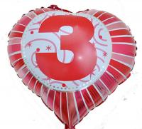 Фольга Сердечко с цифрой 3 (красное) 45х45см.