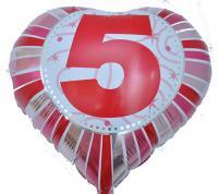 Фольга Сердечко с цифрой 5 (красное) 45х45см.