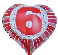 Фольга Сердечко с цифрой 6 (красное) 45х45см.