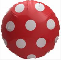 Фольга круг горошек красный 45х45см