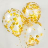 Конфети в шарики звездочки золото 4х4см(100грамм)