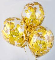 Конфети в шарики круг золото 23мм(100грамм)