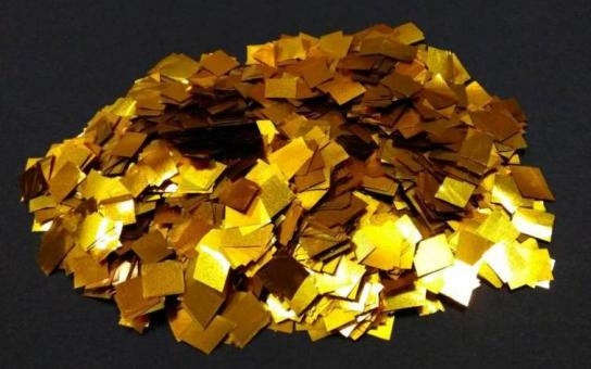 Конфети в шарики квадратики золото 6х6мм(100грамм)