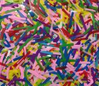 Конфети в шарики полоски микс 0,5х4см(100грамм)