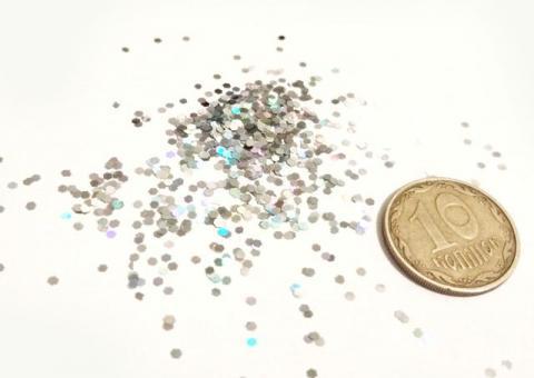 Блестки серебро (глиттер)