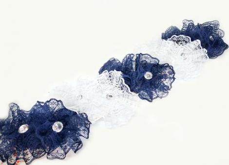 №1345 Резинки сине-белые ажурные 10шт