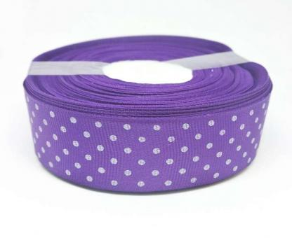№1371 Лента репсовая 2,5смх25м фиолетовая бел.горох