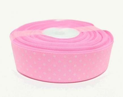 №1390 Лента репсовая 2,5смх25м розовая бел.горох