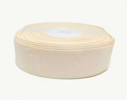 №1396 Лента репсовая 2,5смх25м кремовая бел.горох