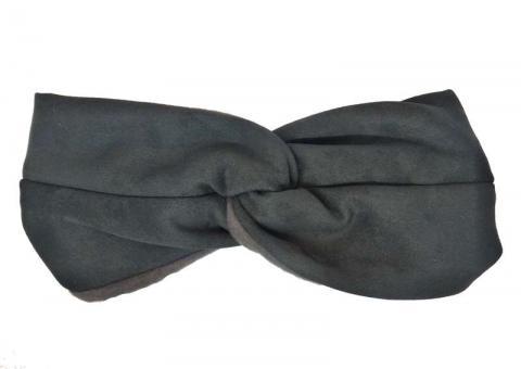 №1956 Повязка замшевая для волос темно-серая, шир.12см