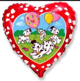 Шарик фольгированный сердечко далматинцы  FLEXMETAL
