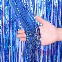 Шторка (дождик) синяя блестки 1х2 м. из фольги для фотозон (голограмма)