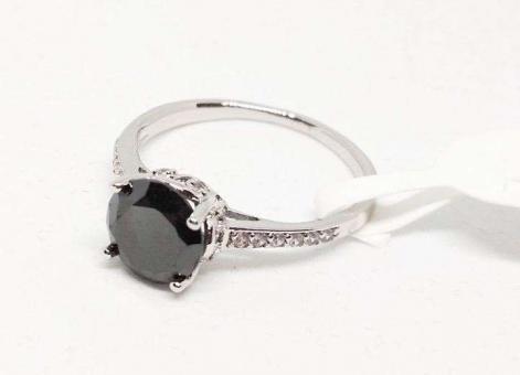 №5396 Кольцо Xuping серебро черный-кам. р.16-19