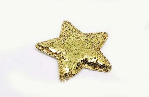 №56813 Звезда глиттерная золотая 10шт