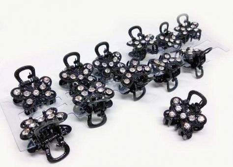 №57393 Заколка краб метал черный 12шт
