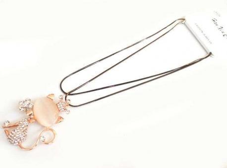 №5912 Ожерелье золотой кот длинная цепочка