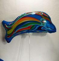 Шарик большой на палочке Дельфин синий