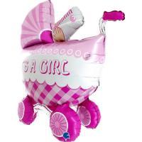 Шарик Грабо, Детская коляска розовая, 36″ УП (73061)