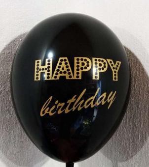 """Шарики  happy birthday 12""""30см (черный)"""