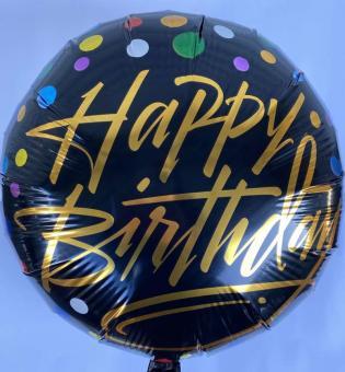 Шарик круг Happy Birthday (черный) 45х45см.)
