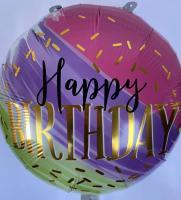 Шарик круг Happy Birthday (фиолетовый, зеленый) 45х45см.)