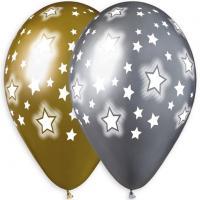 Шарики латексные Хром здезды, Stars #967 12″ 30cm