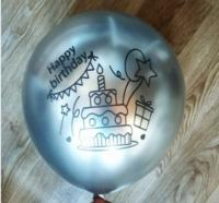"Хром Китай happy birthday серебро 12""(30см)"