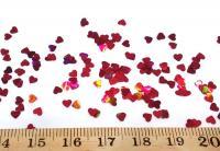 Конфети сердечки красные НОВЫЕ дорогие  3мм. 50 грамм