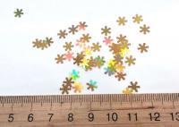 Конфети снежинки золото НОВЫЕ дорогие 3мм. 50 грамм