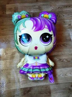 Фольга фигура кукла лол  фиолетовая 70х45см