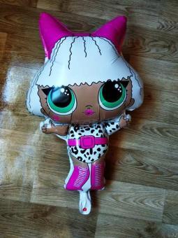 Фольга фигура кукла лол Китай с бантиком 70х45см.
