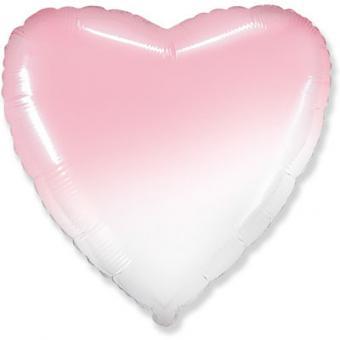 """Сердце 18""""(45х45см) градиент розовое с белым  FLEXMETAL"""
