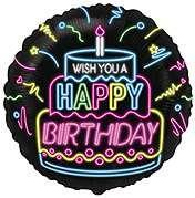 """Шарик FLEXMETAL круг  Happy birthday черный 18"""" (401598)"""
