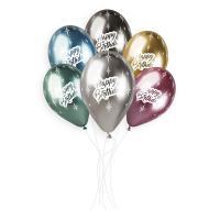 Шары круглые Хром, Happy Birthday 13″ (33см)