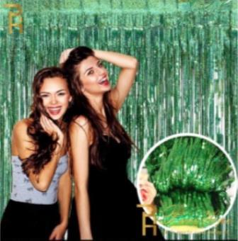 Шторка (дождик) зеленая блестки 1х2 м. из фольги для фотозон (голограмма)