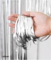 Шторка (дождик) из фольги для фотозон серебро матовая 1х2 м.