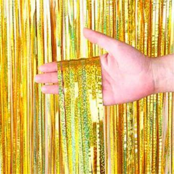 Шторка (дождик) золото блестки 1х2 м. из фольги для фотозон (голограмма)