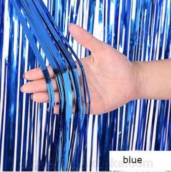 Шторка занавес из фольги для фотозон, Синяя 1х2 м