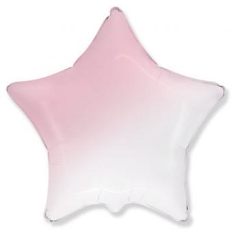 Звезда  18 дюймов(45х45см) градиент розовый с белым FLEXMETAL